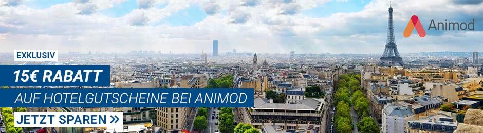 15€ Rabatt auf Hotels bei Animod