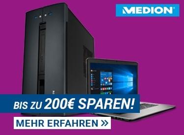 Notebook + PC Sale: bis zu 200€ Rabatt bei Medion