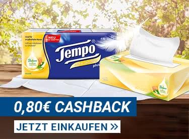 0,80€ Cashback auf alle Tempo Taschentücher & Boxen