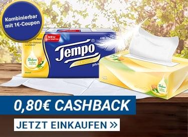 0,80€ Cashback auf alle Tempo Taschentücher
