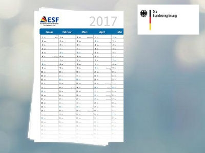 ESF: Praktischer DINA2-Wandkalender 2017