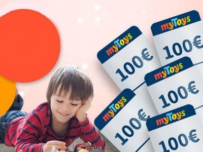 1 von 5 100€-myToys-Einkaufsgutscheinen gewinnen