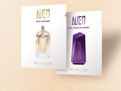 """Testmuster """"Alien Eau Sublime"""" und """"Alien Bodylotion"""""""