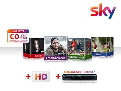 Sky: alle Pakete für insgesamt nur € 29,99 im Monat