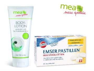 Gratis Emser-Halspastillen und Urea-Bodylotion
