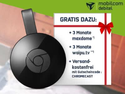 Google Chromecast + 3 Monate Maxdome + 3 Monate waipu.tv: nur 34,99€