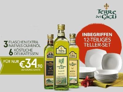 3x natives Olivenöl, 6 Delikatessen & 12-teiliges Teller-Set für 34,90€