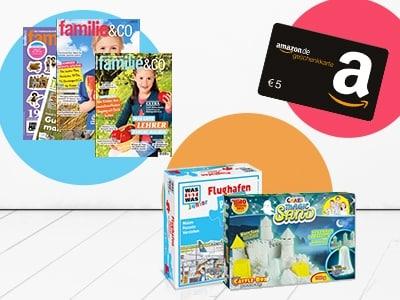 """3 Ausgaben """"familie&co"""" für nur 9,90€ + Prämie + 5€-Amazon.de-Gutschein"""