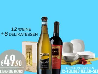 12 Weine, 6 Delikatessen und 12-tlg. Teller-Set für nur 49,90€