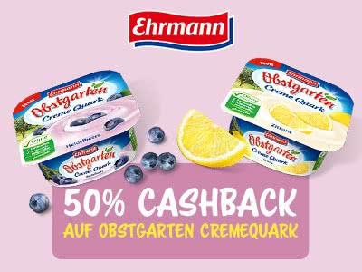 Sparen mit Geld-zurück-Aktionen: 50% Cashback auf Obstgarten CremeQuark