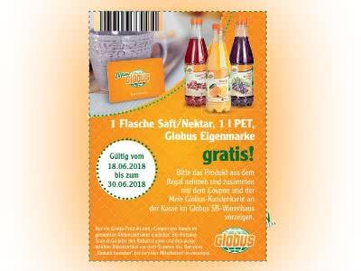 Globus: 1 Flasche Saft (1 Liter) gratis mit Globus-Kundenkarte