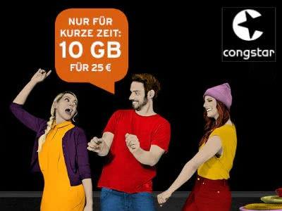 """""""Allnet Flat Plus"""" bei Congstar mit 10 GB LTE (Telekom-Netz): nur 25€ mtl."""