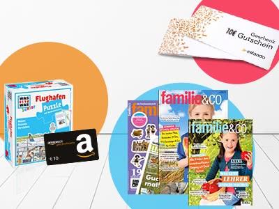 """3x """"familie&co"""" für 9,90€ + Prämie + 10€-Amazon.de-Gutschein"""
