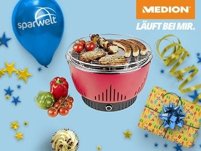 Rauchfrei Grillen mit dem MEDION Holzkohlegrill für nur 40,95€