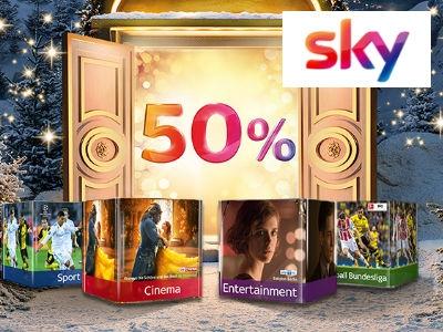 0€ Aktivierungsgebühr + 50% Rabatt auf Sky-Wunschpakete