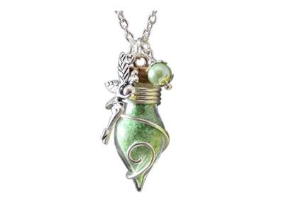 Glücksbringer Phiole der Lichtfee grün nachtleuchtend Damen Mädchen Frauen Kettenanhänger an Kette Talisman Glasfläschchen mit Feenstaub Katharina Fairytale