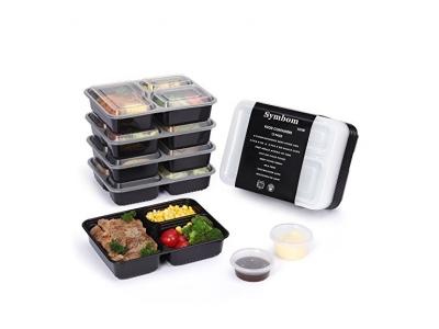 [12 Pack] Symbom Essensbehälter 1000ml mit 3 Unterteilungen für Vorgekochte Speisen als Lunch-Box /Meal Prep Container/Bento Box für die Jause Die Boxen sind Stapelbare Wiederverwendbar Frostsicher Mikrowellengeeignet und Spülmaschinenfest Set Bestehend a