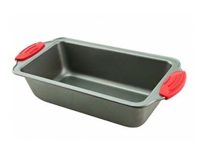 Loaf Pan - Premium Non-Stick Steel 8.5-Inch Loaf Pan by Boxiki Kitchen | Professional No-Stick Bakeware for Baking Banana Bread, Meatloaf, Pound Cake | 8.5 x 4.5 x 2.75, with Red Silicone Handles by Boxiki Kitchen