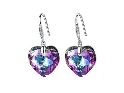 """""""Zucel Heart"""" 925 Sterling Silber Piercing Ohrringe mit Swarovski-Kristallen aus Vitrail von GoSparkling"""