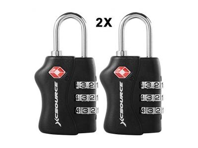 XCSOURCE 2 Stück TSA Genehmigt Gepäck Sperren TSA Lock Sicherheit Kombination 3 Dial-Code Vorhängeschloss (Schwarz) für Reise-Koffer-Bag XC303