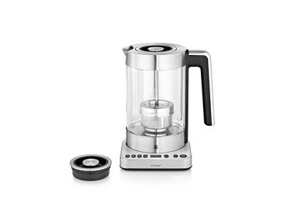 WMF LONO Tee- und Wasserkocher 2-in-1, variable Temperatureinstellung, 1,7 l Wasser und 1,4 l Tee, 3000 W, Schott Duran Glas, cromargan matt/silber