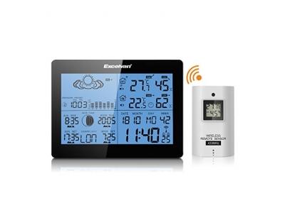 Excelvan Funkwetterstation wetterstation Funk Wecker Thermometer Hygrometer LCD Wetterstation mit Präzisionsvorhersage Temperatur Feuchtigkeit Sunrise/Sunset Zeit Barometer inkl. Außensensor