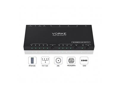 VORKE HDMI Switch 18Gbps 4x1 HDR 4Kx2K @ 60Hz (4: 4: 4) HDCP2.2 SPDIF 4 in 1 aus HDMI2.0b HDMI mit EDID ARC RS232 Stereo Audio und optischer Ausgang Fernbedienung