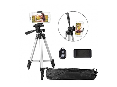 Handy Stativ 102cm Aluminium Kamera Stativ mit Bluetooth Fernbedienung und Smartphone Clip für Digitale Kamera, iPhone und Samsung