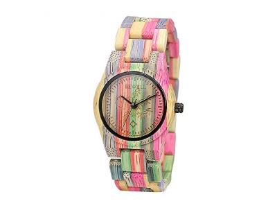 BEWELL Damen Holzuhr Holz Bunt Damenuhren Uhren Kleine Armbanduhr Japanisches Quarzwerk Fashion Stil Uhr