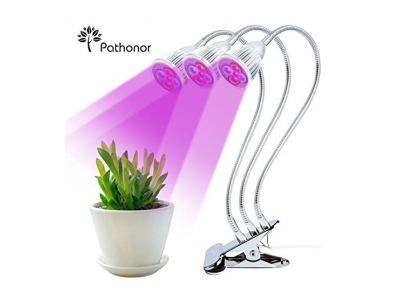 Dreifacher KopfPflanzenlampe, Pathonor 15W Pflanzenlicht Wachsen licht Pflanzenleuchte Wachstumslampe mit 360 Grad einstellbar Flexible für Büro Haus Garten Aquatische Pflanzen Blumen Veg Sämling