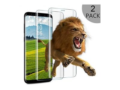 Panzerglas Schutzfolie für Samsung Galaxy S8 Plus/S8, S8 Hülle, 2 Stück Wsky Vollständige Abdeckung Displayschutzfolie für Samsung S8/S8 Plus, Galaxy S8 Handyhülle Schwarz