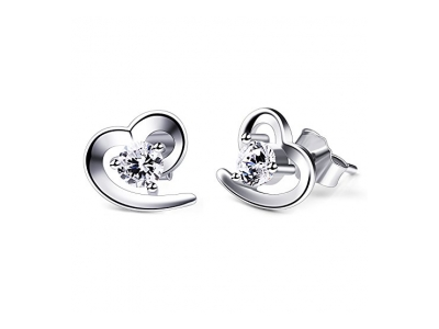 B.Catcher Herz Ohrringe Damen 925 Sterling Silber Ohrschmuck Ohrstecker Schmuck Weihnachten Geschenk
