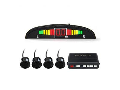 Vetomile - Parking Sensor Einparkhilfen mit 4 Sensor Backup Radarsystem ( LED Farbe Display, Auto Rückwarn Backup Kit, sicher und zuverlässig, Lange Lebenserwartung )