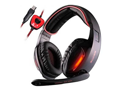 SADES SA902 7.1 Surround Sound Stereo Professionelle PC USB Gaming Headsets Stirnband Kopfhörer mit Mikrophon, tiefe Bässe, Over-the-Ear-Lautstärkeregler LED-Leuchten für PC Gamers (Schwarz)