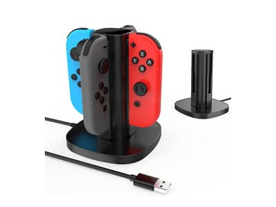 GameWill Nintendo Switch Joy-Con Fast Ladestation Station, USB Powered, mit LED-Anzeigen, für 4 Joycon Controller (Schwarz)