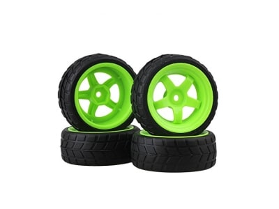 BQLZR RC 1: 10 Racing Flat Car Plastic Green Wheel Rims&Rubber Tires Pack of 4