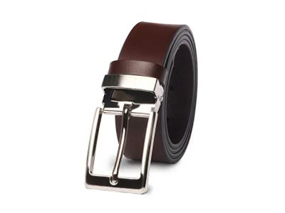 Gürtel Herren - M.R Ledergürtel Beiläufige Leder Schwarz mit polierter Metallschlaufe
