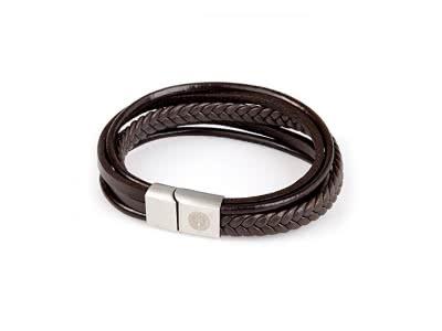 Herren-Armband mit Titan Elementen, Echt-Leder in Braun
