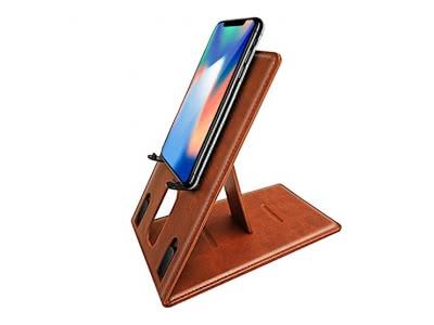 AUAUA Handy/Tablet Halterung, Universal Leder Phone Ständer, Dock, Handy Halter mit verstellbarem Winkel und Spiegeldesign für iPhone, iPad, onstige Smartphones (mit 4-8 Zoll)und Tablets