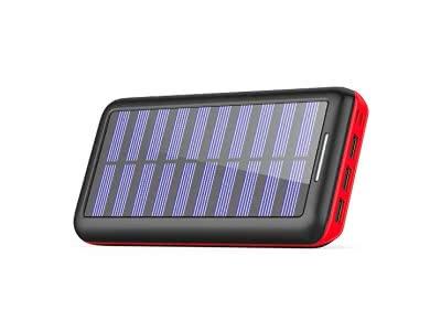 Solar Ladegerät Powerbank, BERNET 24000mAh Externes Batterien mit (Lighting & Micro)Dual Input und 3 Ausgänge Solarladegeräte für iPhone, iPad, Samsung, Android und weitere Smartphones