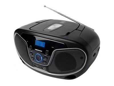 MEDION LIFE E65073 MD 84580 MP3 Stereo Sound System, Kassette MC, CD-Player, AUX-Anschluss, UKW Radio, 2x10 Watt, schwarz