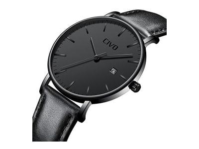CIVO Herren Schwarz Uhren Ultra Dünn Minimalistisch Mode Armbanduhr Luxus Elegant Geschäft Herren Uhr Wasserdicht Datum Kalender Beiläufig Analoge Quarzuhren für Männer