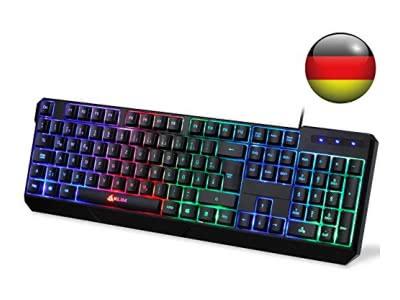 KLIM Chroma Tastatur Gamer QWERTZ DEUTSCHE mit USB Kabel – Hohe Leistung – bunte Beleuchtung Gaming Tastatur ( schwarz ) RGB PC Windows, Mac