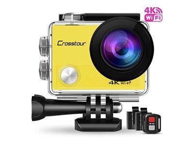 """Action Kamera Wifi Cam 1080P Full HD Crosstour 2"""" LCD Sports Cam 170°Weitwinkel Helmkamera Unterwasserkamera mit 2 Batterien 1050mAh und Zubehör Kits"""