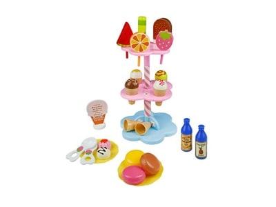 Spielzeug für Mädchen DIY Party Pretend Eisständer mit Eis Lebensmittel Spielset Kinder-Rollenspiele Spielzeug Dessert Spiel (Style B)