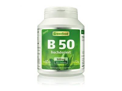 Greenfood Vitamin B-Komplex, 500 mg, hochdosiert, 120 Vegi-Kapseln, Wochenration – alle B-Vitamine, für ein gutes Gedächtnis, Konzentration und gute Laune. OHNE künstliche Zusätze. Ohne Gentechnik. Ve