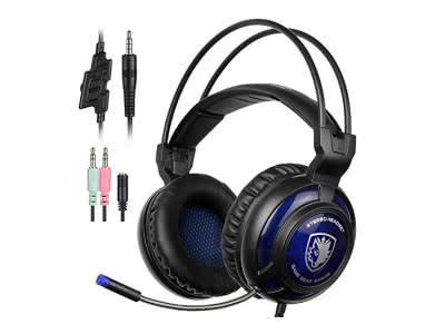 SADES SA805 PS4 Gaming Headset PlayStation 4 Headset Over-Ear Kopfhörer Gaming mit Mikrofon für Multi-Plattform Neue Xbox One / PC / PS4 mit Lautstärkeregler (Schwarz Blau)