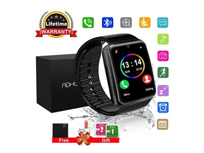 "Bluetooth Smart Watch Phone Touchscreen Armbanduhr Handy-uhr Sport Smartwatch Uhr Wasserdicht Fitness Intelligente Smart Uhr Telefon Kompatible IOS Andriod Iphone Smartphones für Herren Damen (Silber(1.90""*0.69""*0.39""))"