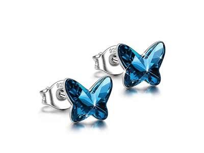 ANGEL NINA 925 Sterling Silber Allergenfrei Damen Schmuck mit Swarovski Steinen - Fliegender Schmetterling