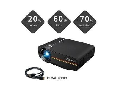 Beamer, ELEPHAS LED Mini Beamer unterstützt 1080P HD 1500 lumen für HDMI/VGA/AV/USB/SD für TV PC Laptop Kopfhörer iphone Filme und Video Spiele, Schwarz